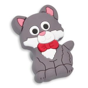 Knott til barnerommet i mykt kunststoff. Figur: katt i grå og hvit farge.