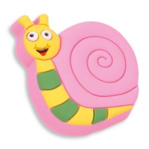 Knott til barnerommet i mykt kunststoff. Figur: snegle i rosa, gul og grønn farge.