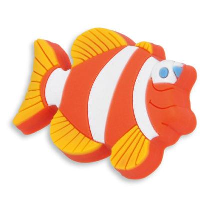 Knott til barnerommet i mykt kunststoff. Figur: fisk i gul, orange og hvit farge.