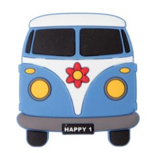 Knott til barnerommet i mykt kunststoff. Figur: volkevogn buss i blå farge.
