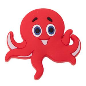 Knott til barnerommet i mykt kunststoff. Figur: blekksprut i rød farge.